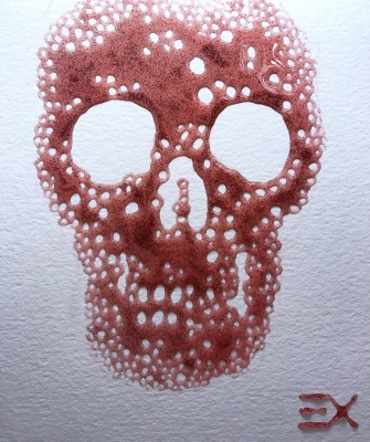 SKULL red and glitter /2018